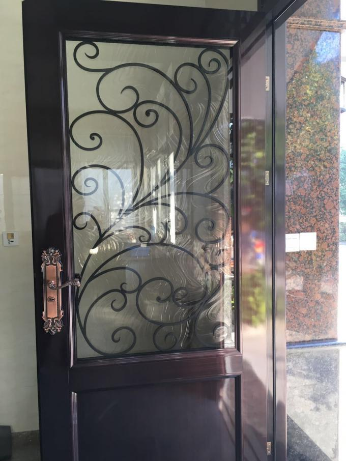 Anti Rust Low E Iron Door Glass , Hot Dip Galvanized Double Entrance Doors